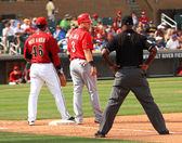 Arizona Diamondbacks Juan Miranda and Reds Valaika — Stock Photo
