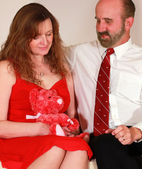 A Wife Receives a Teddy Bear on Valentine's Day — Stock Photo