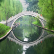 A Park Bridge Reflected in a Waterway — Stok fotoğraf