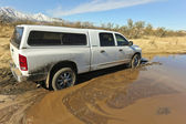 A Dodge Ram Stuck in the Mud — Stock Photo