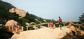 A Family Hikes on a Lao Shan Trail, Qingdao, China — Stock Photo