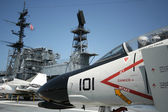 An F-4 Phantom and the USS Midway Island Superstructure — Stock Photo
