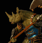 A Rhino Warrior with Battle Ax Poised for War — Stock Photo