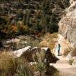 A Woman Hikes in Walnut Canyon, Arizona — 图库照片