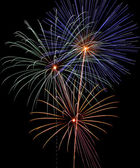 4th of July Fireworks, 3 Skyrockets Explode — Stock Photo