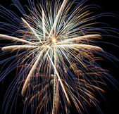 4th of July Fireworks, Blazing Syrockets Collide — Stock Photo