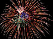 4th of July Fireworks, Red, Blue and Green Skyrockets Explode Inside an Ora — Stock Photo