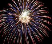 4. července ohňostroje, červené, bílé a modré — Stock fotografie