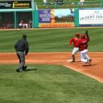Постер, плакат: Tony Abreu slides into second base in an Arizona Diamondbacks game