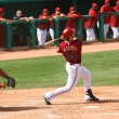 Постер, плакат: Conor Jackson gets a hit in an Arizona Diamondbacks game
