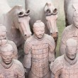 Stock Photo: Group of Five TerracottArmy Soldiers and Four Horses