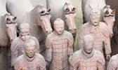A Group of Five Terracotta Army Soldiers and Four Horses — Stock Photo