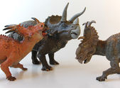 A Styracosaurus, Triceratops and Pachyrhinosaurus Stand Together — Stock Photo