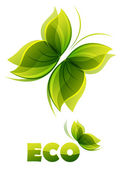 Eco logo - two green butterflies — Stock Vector