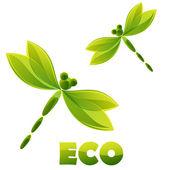 Logo - green dragonfly — Stock Vector