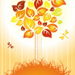 Stock Vector: Autumn background - color tree