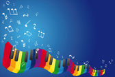 Music background with music notes and piano keyboard — Stock Photo