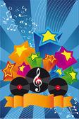 Music background: vinil, notes, stars — Stock Photo