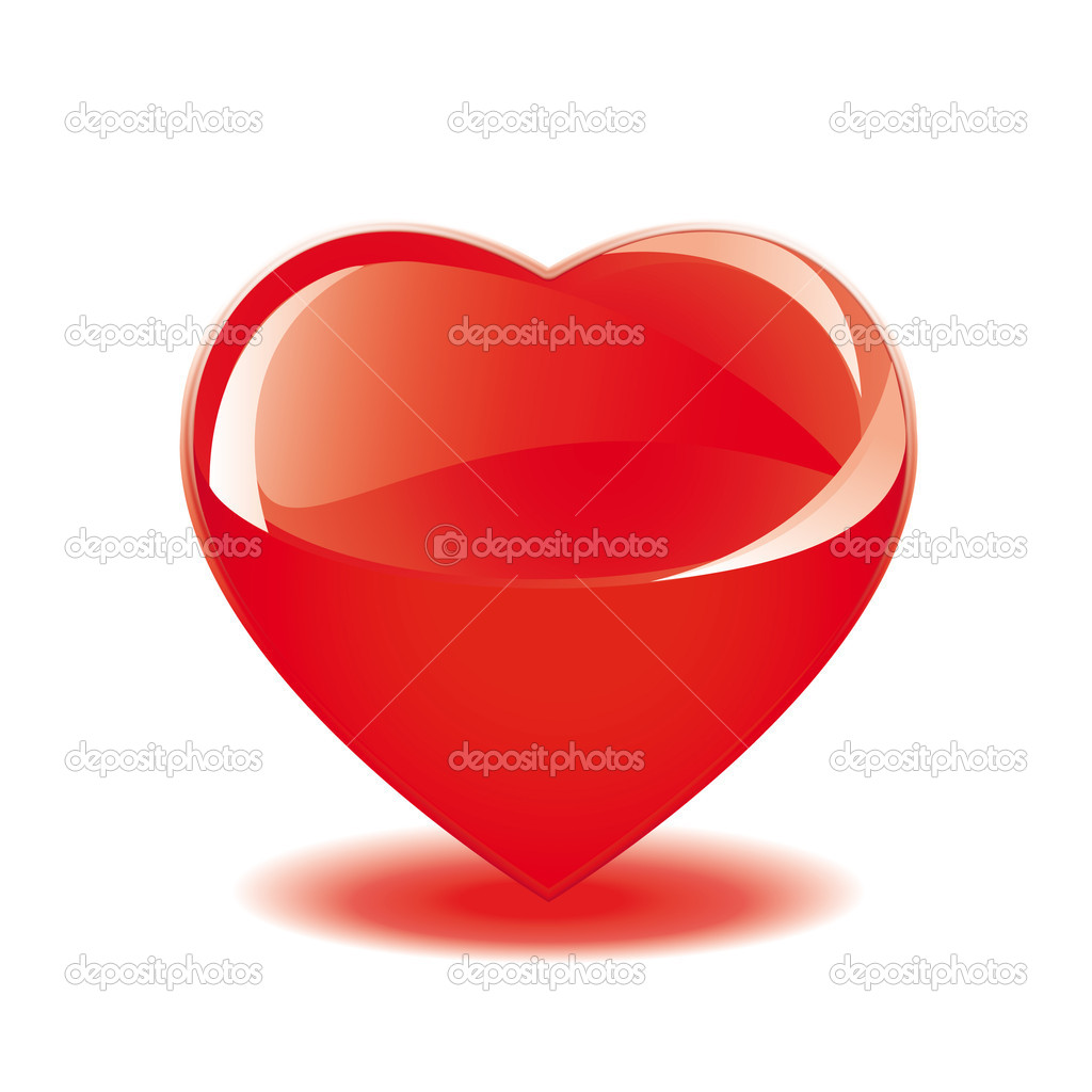 Red glass heart isolated on white  Stock Photo #8164683