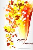Sfondo autunno con foglie di colore e farfalle — Vettoriale Stock