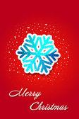 Kartki świąteczne - śnieżynka etykiety na czerwonym tle — Wektor stockowy