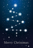 Constellations - christmas tree on the sky — Stock Vector