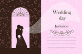Wedding card - Bride and Groom silhouette — Stock Photo