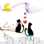 katten en liefde illustraties voor uw frend liefde — Stockvector