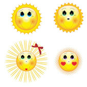 Weather icon set sun illustrations for web sites — Stock Vector