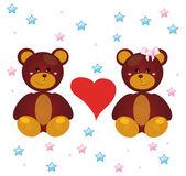 Cartoon bears Love for greeting cards — Stock Vector