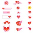 Hearts clipart Beautiful illustration and buttons — Stock Vector