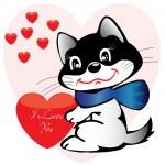 chat et l'amour de carte postale pour Saint Valentin — Vecteur