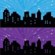 Stock Vector: Night city headers for web site or banner