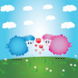 Lambs romance,greeting postcard and illustrations — Stock Vector #8228014