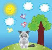 Aves y gato de dibujos animados clip art e ilustración — Vector de stock