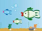 Aquarium or fish cartoon clip-art ilustration — Stock Vector