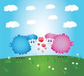 Lambs romance,greeting postcard and illustrations — Stock Vector