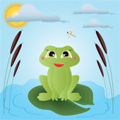 Frog illustration For postcards and childrens sites — Stock Vector