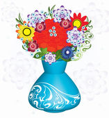 Fine bouquet in a vase Flowers for the beloved — Stock Vector