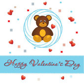 Bear and love Valentine blanks postcards for your love — Vettoriale Stock
