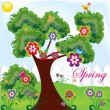 Spring park illustration for your postcards or for web sites and presentation — Stock Vector #9320788