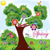 Spring park illustration for your postcards or for web sites and presentation — Stock Vector