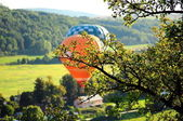 Balloons over the green fields — Stock Photo
