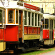 Vintage red trams in Prague — Stock Photo