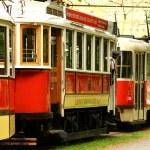 Vintage red trams in Prague — Stock Photo