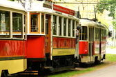 Vintage red trams in Prague — Stockfoto