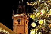 Christmas and New Year Eve atmosphere on Old Town Square in Prague — Stock Photo