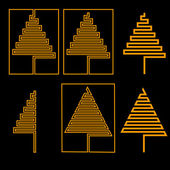 Set of Christmas tree — Stock Vector