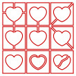 Stockvector : Valentine symbols with heart