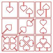 Valentine symbols with heart — Stock Vector